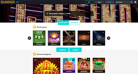 Dunder Casino desktop